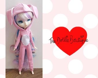 Pullip (Type 3/4 or 27cm Obitsu) Bunny Rabbit Onsie - Pink & White