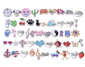 Assorted Lots of Floating Charms for Living Memory Lockets, Silver Gold Floating Charms, Locket Charms, 50 Designs as shown in the picture