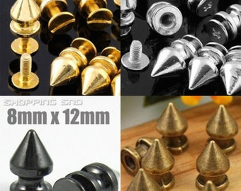Ottery 20 PCS 10MM Truncated Cone Style Screwback Rivets Punk Studs for Hat Clothing Shoes Leather Craft DIY Spikes Metal Dark Silvery