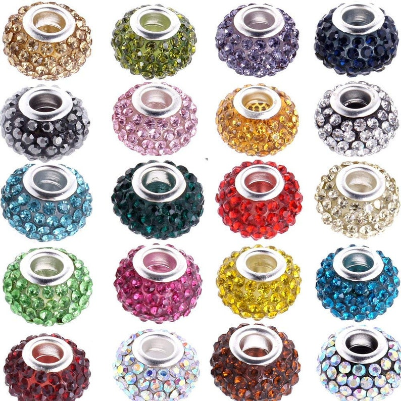 10pcs Big Hole Czech Crystal Rhinestone Pave Rondelle Beads Fit European Charms