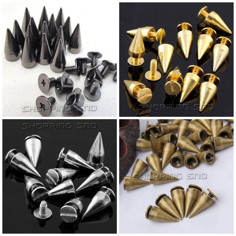 7mm or 12mm Tall 12mm Diameter Clip on Claw Conical Cone Metal Studs