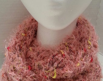 Crochet Cowl in Pale Rose / Coral
