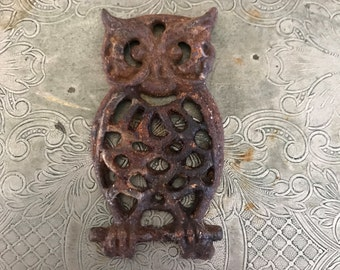 Owl, vintage, iron, wall hanging, weathered, rusty, wall and garden style decor
