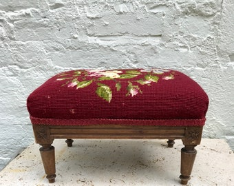 Belgian Foot Stool vintage carved wood needlepoint upholstery project