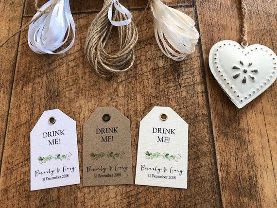 10 x Drink Me or Eat Me Personalised Heart Wedding Favour Tags with Rustic Twine