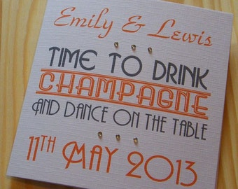 Wedding Day Handmade Personalised Card - Time to drink champagne
