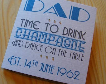 Birthday Handmade Personalised Card - Male-Female -Drink Champagne