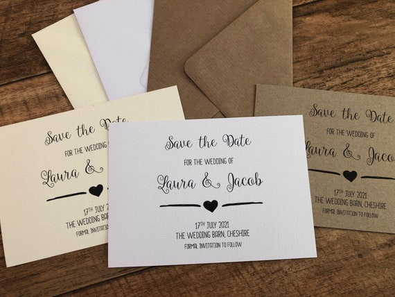Pack of 10 A6 Save The Date Evening Card Wedding Botanical Green Leaves