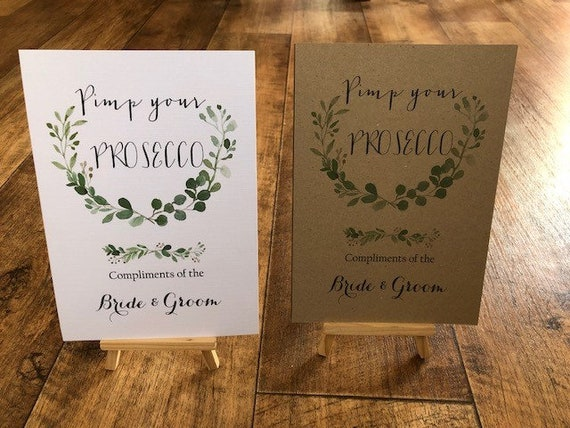 Pimp Your Prosecco  Wedding Sign A4 Print White Ivory Craft Brown rustic vintage