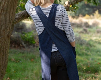 Blue Denim Japanese apron, with cross back and big pockets for hardcore creating! A perfect gift!