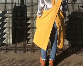 4b053784b3f Mustard yellow linen Japanese apron smock dress with crossover back perfect  easy wearing layering! Easy Christmas Gift - crafters creaters
