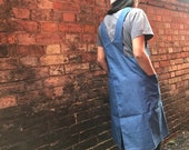 Light Blue Denim Japanese apron, with crossover back and big pockets for hardcore creating A perfect gift