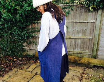 Japanese apron dress smock in dark blue with pockets cotton (linen look)