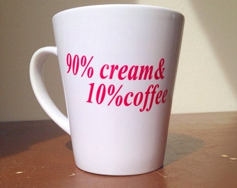 Custom coffee mug cream and coffee mug