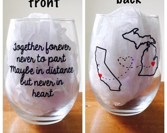 Long distance stemless wine glass, long distance friends stemless wine glass, long distance family stemless wine glass, gift for best friend