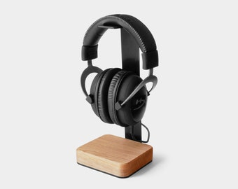 Wood and Steel Headset Stand Headphones Hanger PREORDER