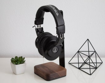 Headphone Stand Wood - Steel and Wood Headphone Holder Makes Great Gift for Music Lover