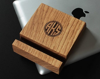 iPad Stand Wood – Includes FREE Monogram of Initials