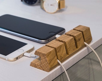 Wooden Cable Organizer – Cable Organizer for Desk Cable Management & Charger Organizer Handmade of Natural Oak, Cool Gift for Office Desk