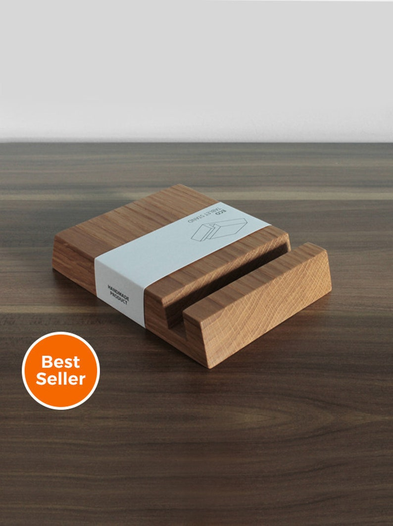 Wooden iPad Stand  Square Holder in Natural Oak Wood image 0