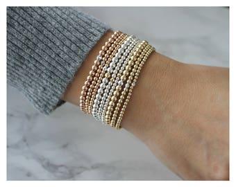 Gold Beaded Bracelet • Stackable Bracelets • 14K Gold Filled Bracelets • Sterling Silver • Gold Bead Bracelet • Gift For Her • B017