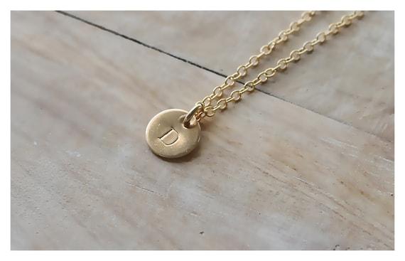 Personalisierte Goldene Schallplatte Halskette Gold Initial Halskette Erste Goldene Schallplatte 1 2 3 4 5 Scheiben 14k Gold Initial