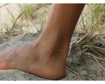 Gold Anklet • Gold Bead Anklet • Gift for her • Dainty anklet • Satellite Anklet • Sterling, 14K Gold Filled Anklet • Beaucoupdebead • B005