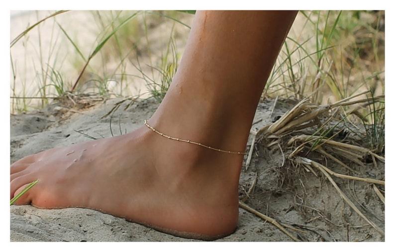 Gold Anklet  Gold Bead Anklet  Giflt for her  Dainty anklet image 0