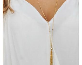 gold tassel necklace • long gold tassel necklace • long tassel necklace • gold layered necklace • beaucoupdebeads • B137