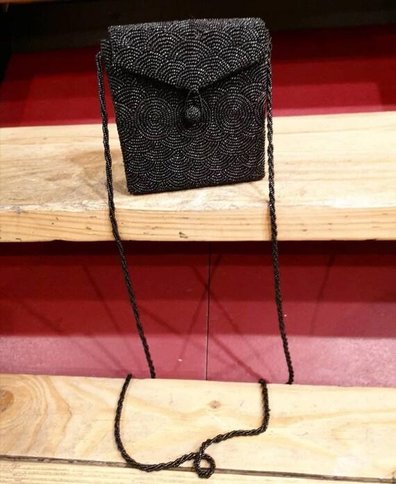 50's handmade black beaded bag