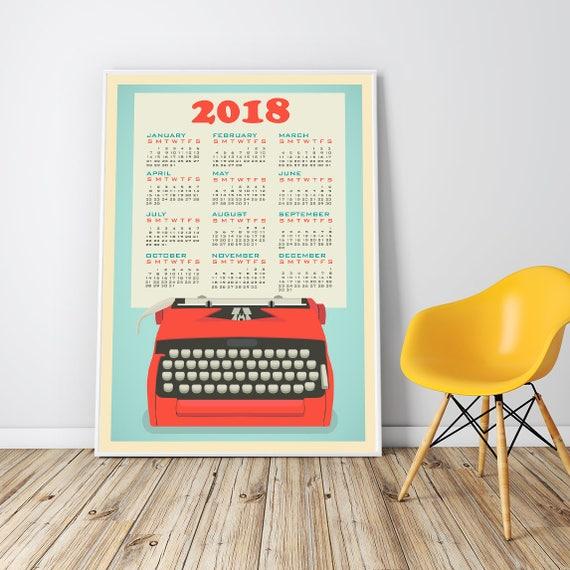 Wall Calendar 2018 Extra Large Framed Print Office Decor For