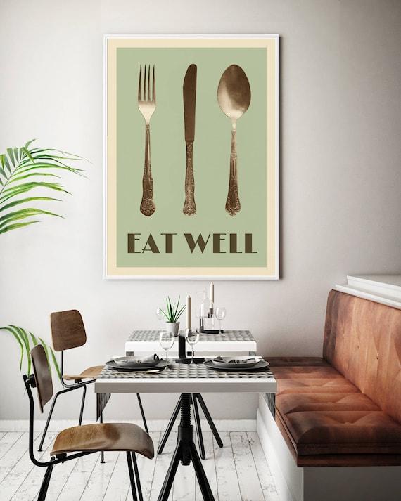Fork Spoon Wall Art Framed Kitchen Prints Retro Kitchen Wall | Etsy