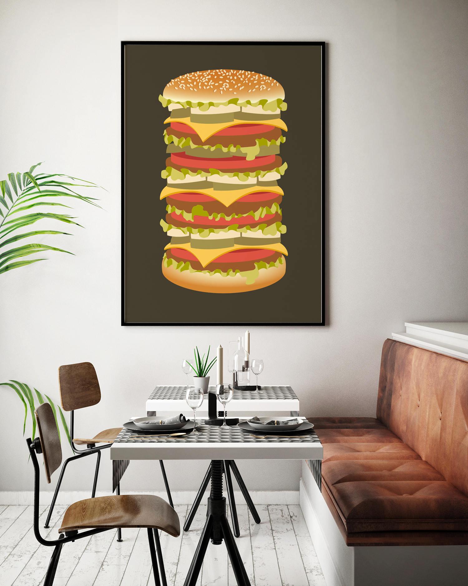 Retro-Küchenkunst Kochen Kunst Hamburger Poster Küche großen | Etsy