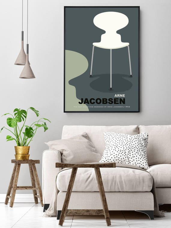 Arne Jacobsen Ant Chairs Art print colourful mid century furniture wall art