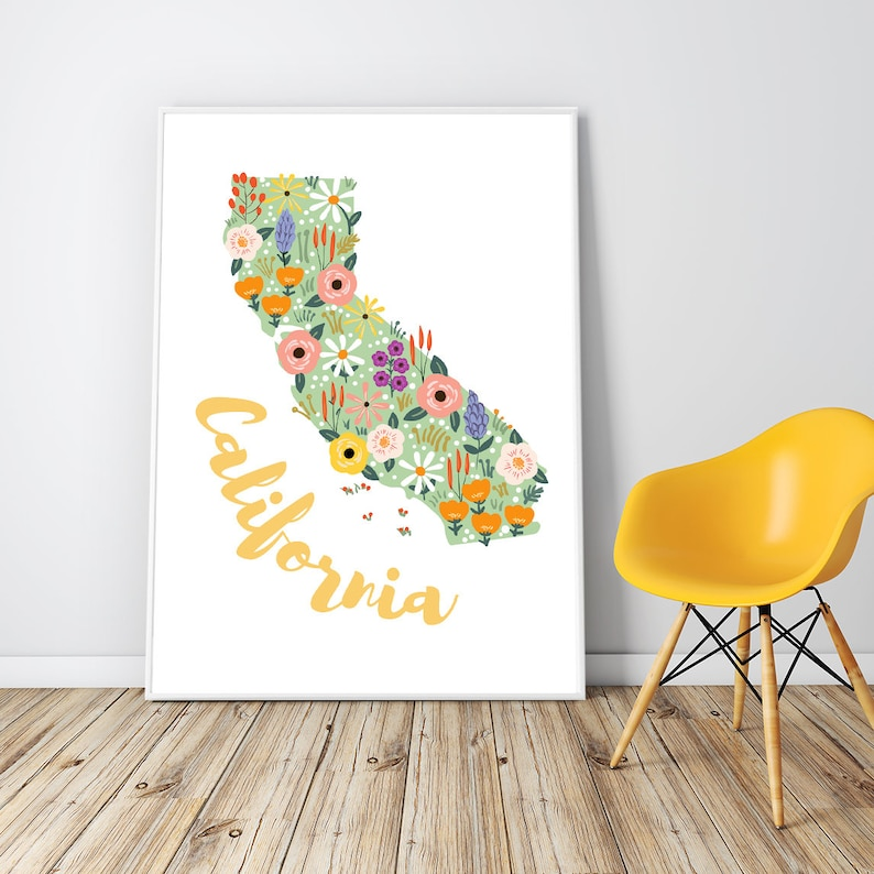 California Wall Art Framed California Gift California Map Etsy