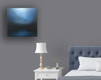 20x20 Original Acrylic Painting Landscape Painting Wall Art Stretched Gallery Wrapped Canvas Painting Home Décor Office Décor Lake Art