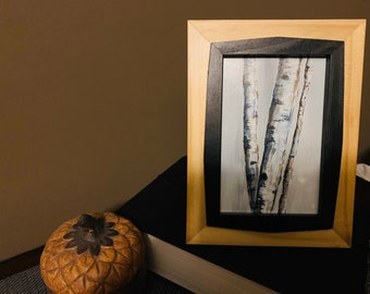 6x4 Miniature Original Acrylic Painting Panel Art Landscape Art Small Art Wood Panel Art Desk Art Framed Art 6x4 Birch Tree Art Nature Art