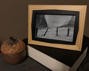 4x6 Miniature Original Acrylic Painting Panel Art Landscape Art Small Art Wood Panel Art Desk Art Framed Art 6x4 Winter Art Nature Art