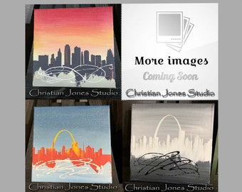 Small Original Acrylic Abstract Painting Cityscape Painting Wall Art Stretched Gallery Wrapped Canvas Painting St Louis Kansas City Skyline
