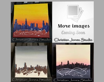 Small Original Acrylic Abstract Painting Cityscape Painting Wall Art Stretched Gallery Wrapped Canvas Painting Boston Chicago Skyline