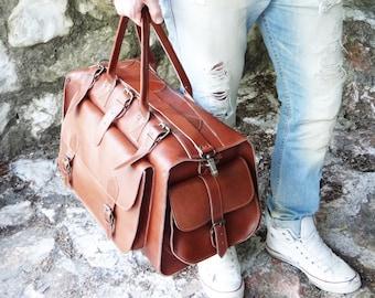 "Apollo Weekender Original Leather Bag • 20"" Handmade Full Grain in Tobacco•Waxed Brown or Dark Brown • Travel Duffel"