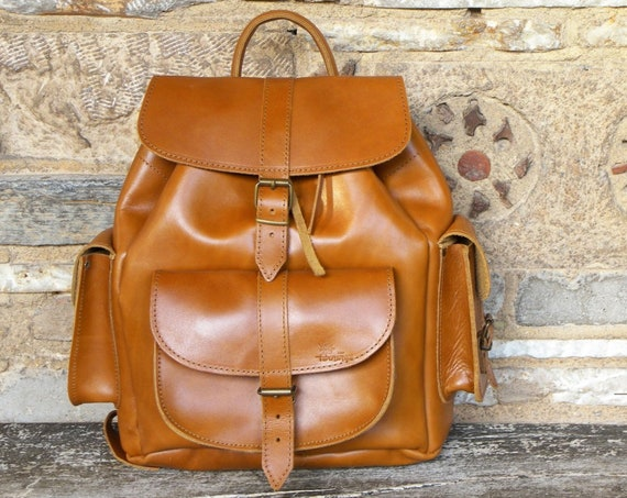 Brown Tan Leather Unisex Rucksack • Backpack • Twininas Oiled Greek Handmade Full Grain Leather • Medium Backpack Bag