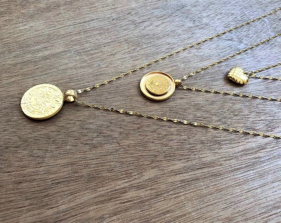 Heart & Discs Triple Necklace • Gold Boho Layered Necklaces • Gold plated Brass • Steel Chain • Boho Gypsy Chain Necklace