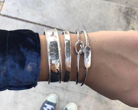 Combo of 4 Bracelets / Silver Statement Cuff Bracelet Set / Silver Plated Brass / Stacked Bracelets / Layered Bracelets