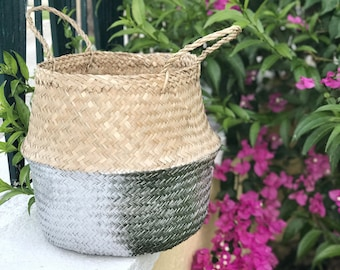 Olivia Seagrass Belly Basket / Gold,Silver / Panier Boule / Storage Basket / Laundry Basket / Planter Basket / Toy Storage / Beach Bag
