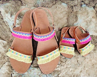 """Mommy and Me """"Aloha"""" Sandals / Pink and Yellow Cotton Tassel Lace / Boho Sandals / Mommy and Daughter / Handmade Slingback Leather Sandals"""