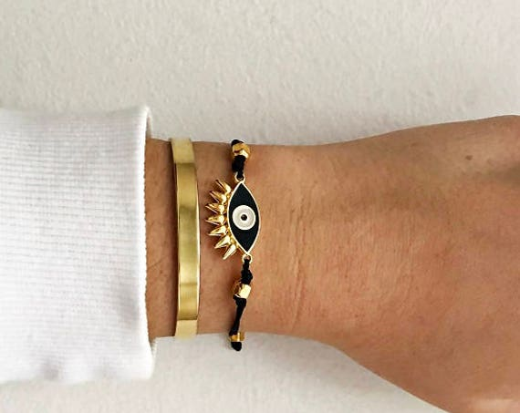 Gold Layered Bracelets • Cuff Bracelet • Black Eye Bracelet • Eyelashes evil eye • Gold Plated Bangle • Handmade Stacked Bracelets