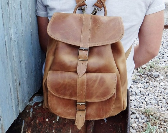 Waxed Leather Backpack / Light Brown Tan Color / Twininas High Quality Full Grain Water Repellent Leather / Unisex Greek Medium Size