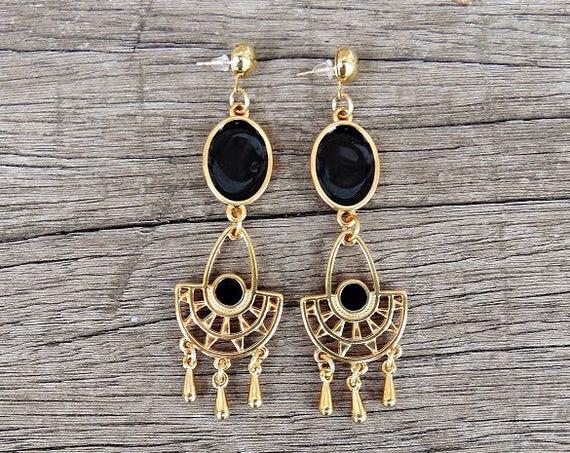 "Black and Gold Chandelier Earrings • Boho Gold Plated Brass Earrings • Enameled Metal • Handmade Earrings • ""Selena"""