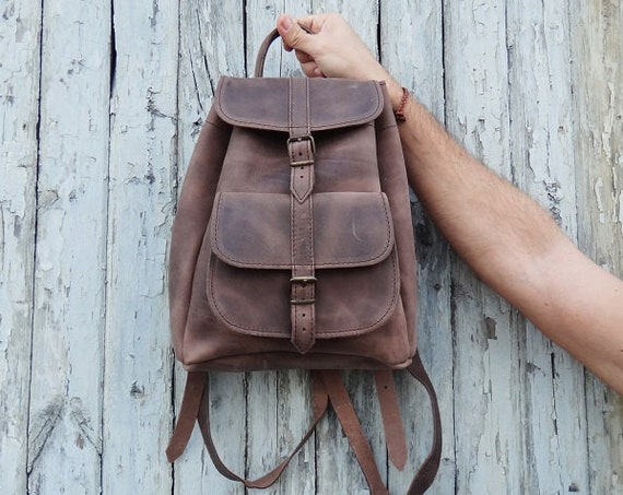 Waxed Leather Small Backpack • Brown Color • Water Repellent • Full Grain Leather • Unisex Greek Backpack Bag